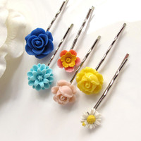 A set of 6 Floral Wonderland Garden Spring Flowers Hair Bobby Pins. Pink, Yellow, White, Blue and Dusty Pink Set hair accessorries