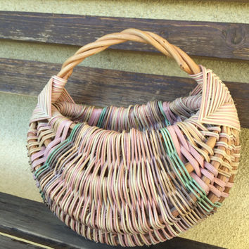 Willow Basket, Woven Basket, French Basket, Handwoven Willow Basket, Market Basket, Pink and Green Basket, Flower Basket, Decorative Basket