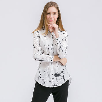 Chiffon Shirt Summer Autumn Long Sleeve White Blouse Women Buttons Lapel Female Tops Chinese Ink Painting Women Clothing Cropped
