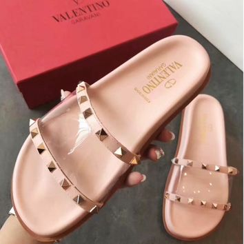 Valentino Sandals Summer slipper slippers Women Girl Shoes Pink