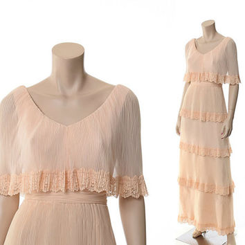 Vintage 60s 70s Tiered Pleated Chiffon Dress 1960s 1970s Miss Elliette Bohemian Lace Draped Wedding Gown Hippie Maxi Dress / XS/S