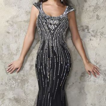 Beaded Open Back Gown by Nina Canacci