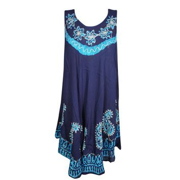 Mogul Womens Blue Batik Paisley Embroidered Tank Dress Sleeveless Flare Beach Wear Bikini Cover Up Dress S - Walmart.com