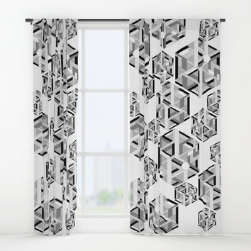 Hexagon monochrome Window Curtains by edrawings38