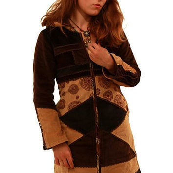 VELVET MANDALA COAT, warm patchwork winter coat, boho jacket, psy trance clothing, purple pixie coat, braided back top, plus size long xxl