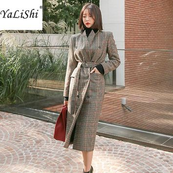 2017 High Quality Vintage Women Wool Long Woolen Coat Winter Houndstooth Plaid Trench Woolen Coat Elegant Cashmere Warm Coat