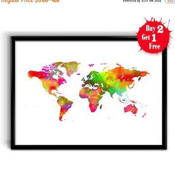ON SALE 25% OFF World Map art Print, Canvas print World, Watercolor Map poster, World Map Wall Art Home Decor