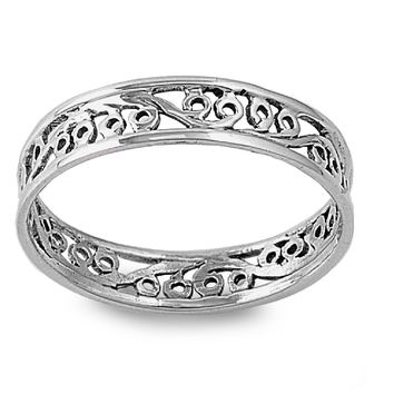 925 Sterling Silver Eternity Filigree 5MM Band Ring