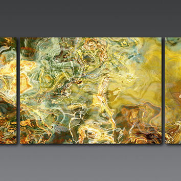 "Large triptych abstract expressionism 30x60 stretched canvas print, in earth tones, from abstract painting ""Legendary"""