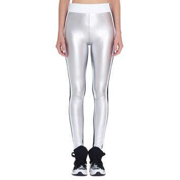 NO KA'OI - Women's Kalia Leggings - Metallic Silver 129