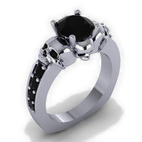 Skull Engagement Ring Black Diamond Center 950 Platinum