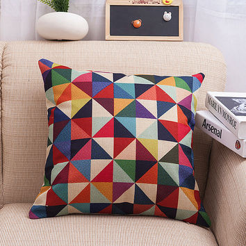 Plaid Stylish Simple Design Soft Cotton Linen Cushion [6283502662]