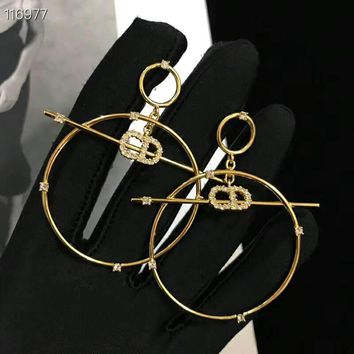 DIOR High Quality Fashion Women Retro Diamond Circular Pendant Earrings Accessories Jewelry