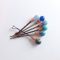 Gemstone Hair Pin, Blue Beaded Hair Jewelry, Six Wire Wrapped Bobby Pins with Round Stones