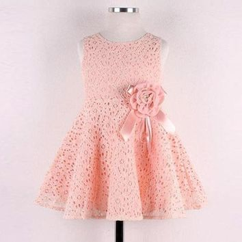 Sweet Girls Full Lace casual Floral Sleeveless Flower summer Dress Child Princess Party Prom girls flower Dress clothes for 2-7Y