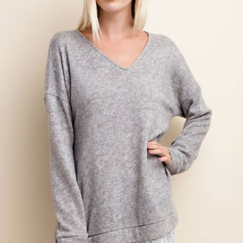 Gray Angora Sweater with Lace Detail