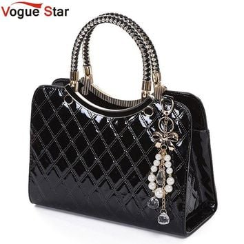 Vogue Star Brand bag cute 2017 New Fashion Designer  PU Leather Tote Shoulder Bag Handbag Ladies Messenger chain plaid  YK40-964
