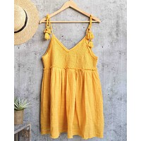free people - sundrenched smocked mini dress - yellow