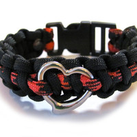 Heart Paracord Bracelet Black Red