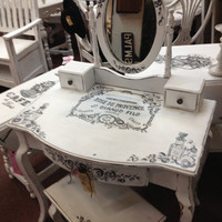 Vintage Inspired 3 Piece Set Vanity, Bench and Swing Mirror All Handpainted Shabby Chic