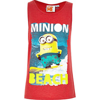 River Island Boys minion print red tank
