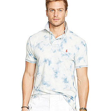 Polo Ralph Lauren Custom-Fit Bleached Indigo Polo Shirt - White Splash