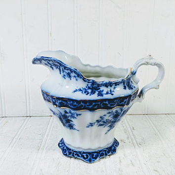 Large Pitcher Flow Blue in Touraine Pattern by Stanley Pottery Co Excellent Condition Antique Blue White Porcelain Fluted Water Milk Pitcher