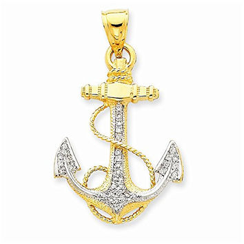 14k Diamond Anchor Pendant, Best Quality Free Gift Box Satisfaction Guaranteed