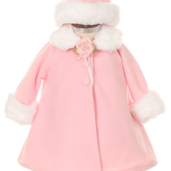 New Baby Girls A-Line Pink Fleece Coat Jacket w/ White Fur Trim & Hat Winter