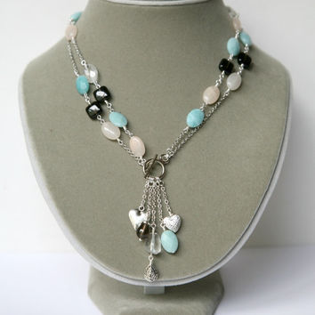 Long or Short Ocean Blue, Peach and Brown Convertible Multi Stone Dangling Cascading Necklace