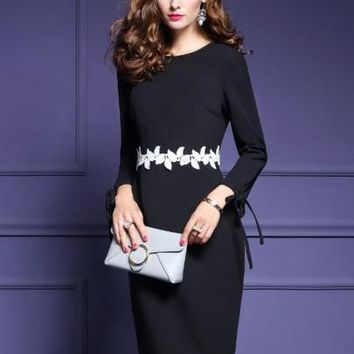 Black Appliques Women's Sheath Dress