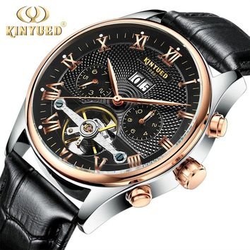 KINYUED Skeleton Tourbillon Automatic Men Mechanical Watch Classic Rose Gold Leather Wrist Watches Reloj Hombre with Gift Box