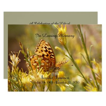 Memorial Service Invitation, Yellow Butterfly Card