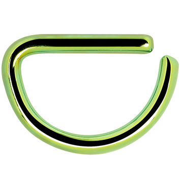 """16 Gauge 5/16"""" Green Anodized Stainless Steel Simple Septum Ring"""
