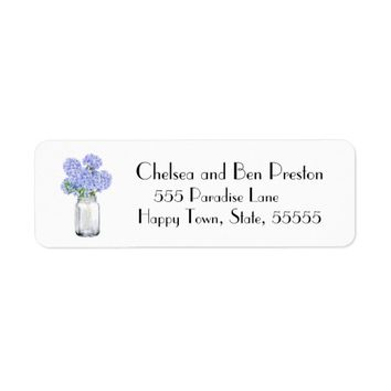 Pretty Blue Hydrangea Flowers In A Mason Jar Label