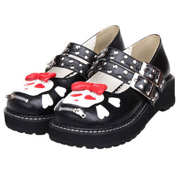 Skull, Zip & Stud Mary Janes