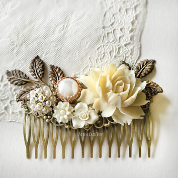 Cream Flower Ivory Bridal Hair Comb Wedding Hair Accessories Romantic Hair Pin Elegant Flower Hair Slide with Pearl Modern Victorian