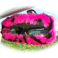 Hot Pink Cerise and black tiger print faux fur furry fluffy fuzzy car rear view interior mirror cover
