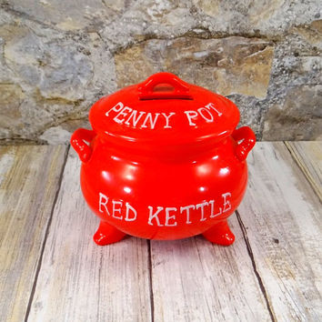 Vintage Lego Red Kettle Penny Pot Bank