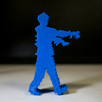 8Bit Zombie, Blue 3D printed office decor