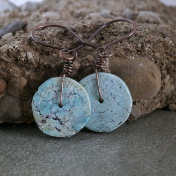 Turquoise Earrings Turquoise Jewelry Antiqued Copper Wire Wrapped Turquoise and Copper Earrings Niobium Earrings Boho Earrings Round Earring