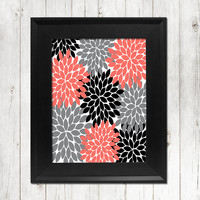 CORAL GRAY Black Flower Wall Art Bedroom Wall Art Bathroom Wall Art Bedroom Picture Flower Wall Art Flower Burst Dahlia Art 1 Print