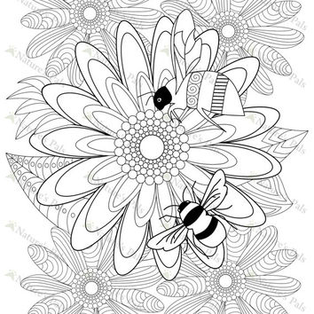 Bees on Flowers Colouring Page (Downloadable page)