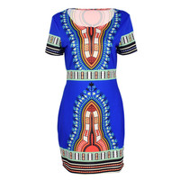 Womens African Printed Cocktail Party Shift Dresses Fashion Bodycon Dress S-XL SM6