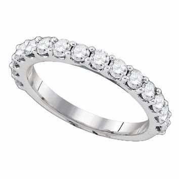 14kt White Gold Women's Round Pave-set Diamond Single Row Wedding Band 1.00 Cttw - FREE Shipping (US/CAN)