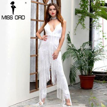 CUPUP9G Missord 2017 Sexy Deep-V sleeveless backless sequin and tassel  jumpsuit FT4954-2