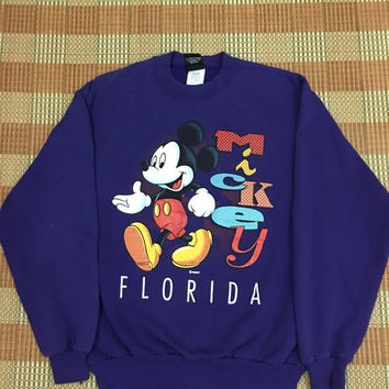 Disney Mickey Mouse Purple Sweatshirt Sweater Sport Adult Size M #M87