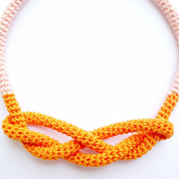 FREE SHIPPING, Orange rope necklace, Knot necklace