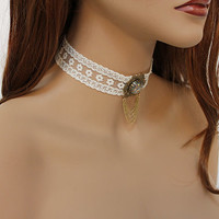 Victorian Choker, Ivory Lace Edwardian Necklace, Romantic Victorian Jewelry, Multi Colored Glass Opal