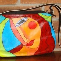 Hand Painted Handbag Purse Shoulder.. on Luulla